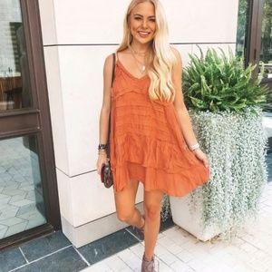 Vici Dresses - Vici Orange Fall Dress - Cotton blend tunic